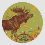 Vintage Moose Gifts Round Stickers