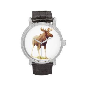 Vintage Moose Illustration, Animal Drawing Wristwatches