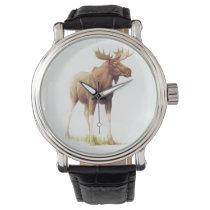 Vintage Moose Illustration, Animal Drawing Wristwatch