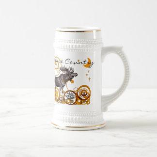Vintage Moose Illustration Stein Coffee Mug