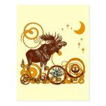 Vintage Moose Moon and Stars Postcard