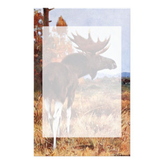Vintage Moose Painting Stationery