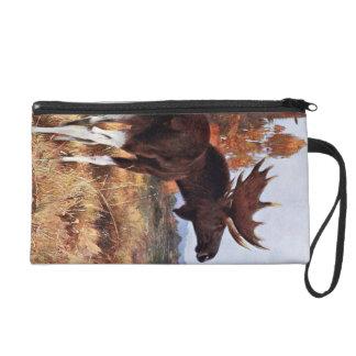 Vintage Moose Painting Wristlet