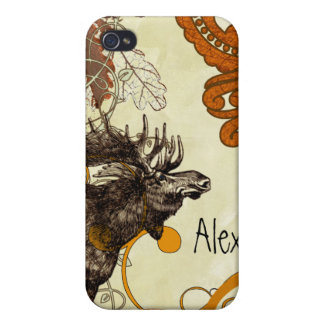 Vintage Moose Russet Damask iPhone Cases For iPhone 4