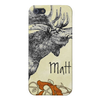 Vintage Moose Russet Damask iPhone Cover For iPhone SE/5/5s