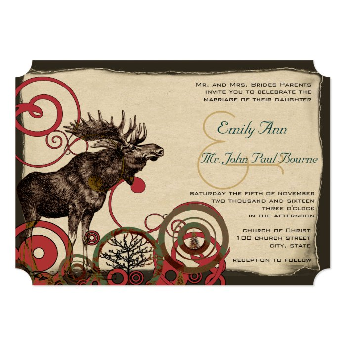 Vintage Moose Wedding Invitations