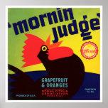 Vintage Mornin' Judge Rooster Grapefruit & Oranges Poster