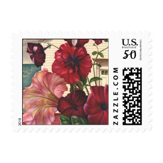 Vintage Morning Glory Flowers in the Garden Postage