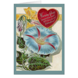 Vintage Morning Glory Valentines Day Card