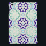 """Vintage Moroccan Tile Abstract Pattern Modern Art iPad Mini Cover<br><div class=""""desc"""">COLOR PALETTE: aqua blue, cobalt sapphire blue and a grey tan with white. DESIGN COLLECTION: This modern geometrical Arabic, middle east, Moroccan tile pattern design was created by literally tracing an ancient hand made tile pattern and recoloring it with bright vibrant modern colors. A perfect blend of vintage with modern...</div>"""