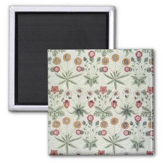 Vintage Morris Daisy Wallpaper Design 2 Inch Square Magnet
