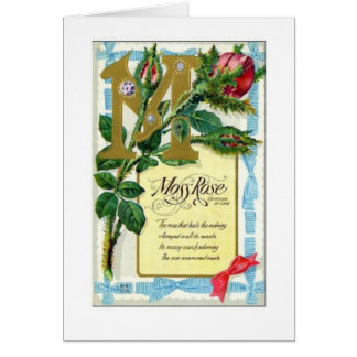 Vintage Moss Rose Thinking of You Greeting Card