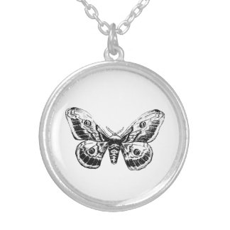 Vintage Moth Illustration Pendant
