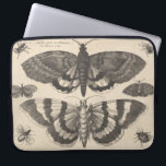 """Vintage Moth Lepidoptera Laptop Sleeve<br><div class=""""desc"""">Vintage bohemian art etching of moths,  beetles and winged insects. The print has lovely patina that gives it the look of aged canvas. Imperfections are part of the design. This series of monochromatic entomology,  lepidoptera plates are available on a variety of products in our store.</div>"""