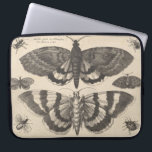 "Vintage Moth Lepidoptera Laptop Sleeve<br><div class=""desc"">Vintage bohemian art etching of moths,  beetles and winged insects. The print has lovely patina that gives it the look of aged canvas. Imperfections are part of the design. This series of monochromatic entomology,  lepidoptera plates are available on a variety of products in our store.</div>"