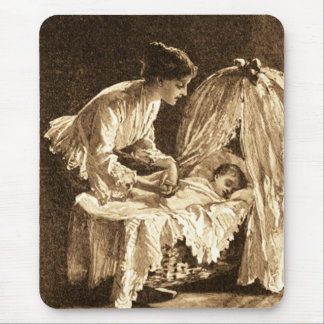 Vintage Mother and Baby Mouse Pad