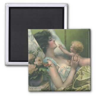 Vintage Mother and Baby Playing in Bed Magnet