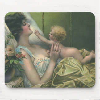 Vintage Mother and Baby Playing in Bed Mouse Pad