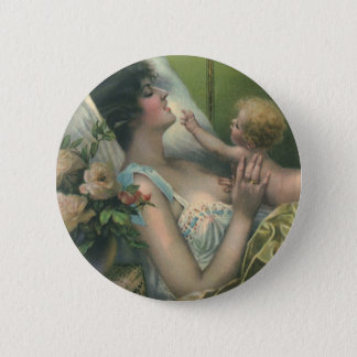 Vintage Mother and Baby Playing in Bed Pinback Button