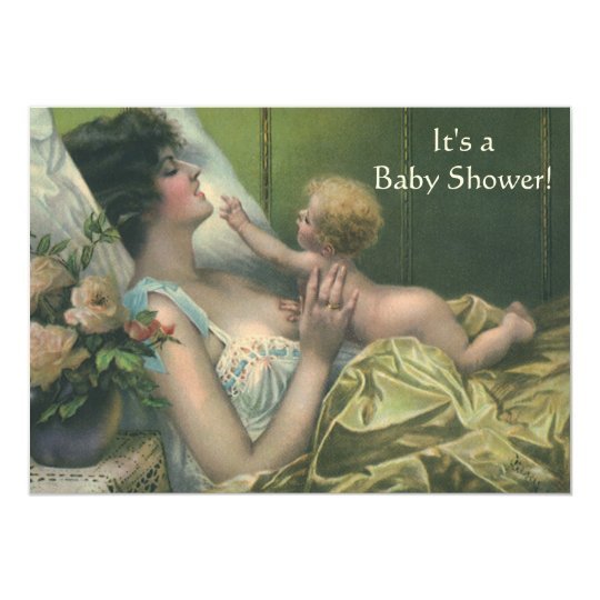 Vintage Mother and Child Baby Shower Invitation