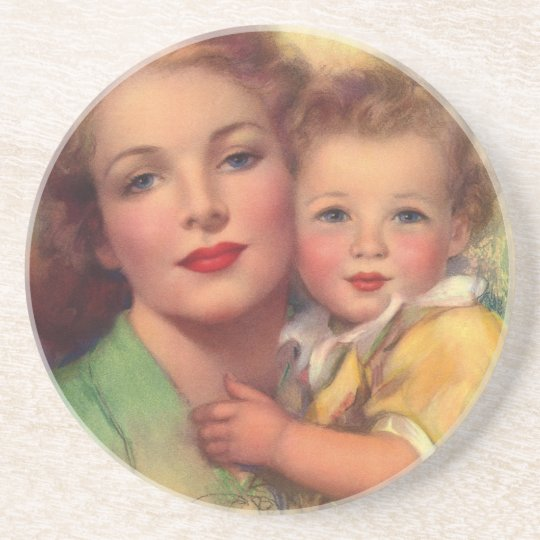 Vintage Mother and Child Family Portrait Drink Coaster