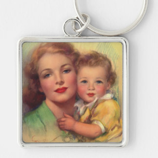 Vintage Mother and Child Family Portrait Keychain