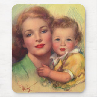 Vintage Mother and Child Family Portrait Mouse Pad