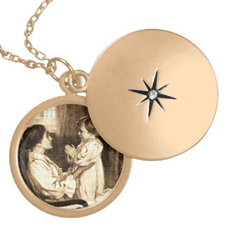 Vintage Mother and Child Gold Plated Necklace