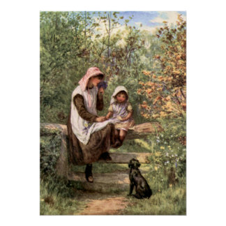 Vintage Mother and Child in a country setting Poster