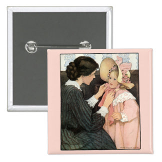 Vintage Mother and Child; Jessie Willcox Smith Pinback Button