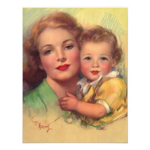 Vintage Mother and Child Portrait 4.25x5.5 Paper Invitation Card ...: www.zazzle.com/vintage_mother_and_child_portrait_announcement...