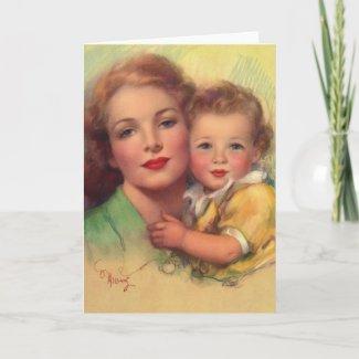 Vintage Mother and Child Portrait zazzle_card