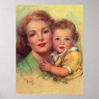 Vintage Mother and Child Portrait Print