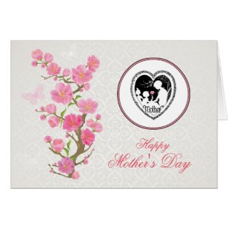 Vintage Mother and Child Silhouette Mother's Day Card