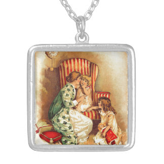 Vintage Mother and Children - Mother's Day Silver Plated Necklace