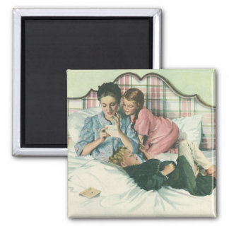 Vintage Mother and Children Reading Cards in Bed Magnet