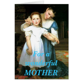 Vintage mother and daughter greeting card