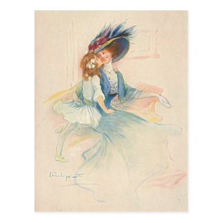 Vintage Mother and Daughter Kiss Postcard