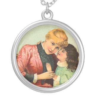 Vintage Mother and Girl Round Pendant Necklace