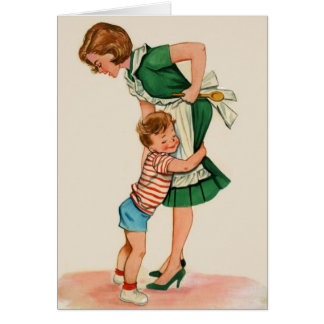Vintage Mother and Son Hug Mother's Day Note Card
