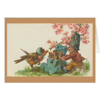 Vintage - Mother Bird and Family Card