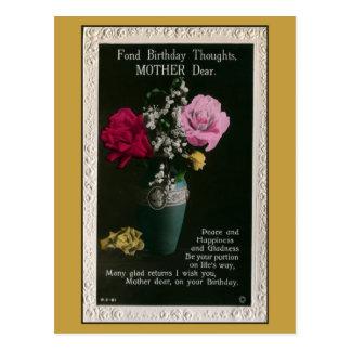 Vintage mother birthday, flowers, poem postcard
