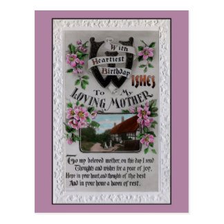 Vintage mother birthday, horseshoe, poem postcard