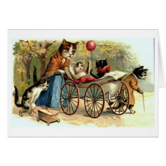 Vintage Mother Cat and Family!  Victorian Card