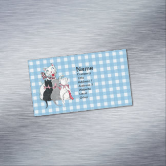Vintage Mother Cat Three Kittens Pink Bows Magnetic Business Card