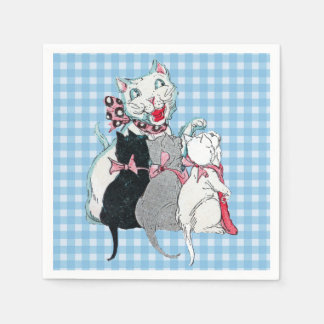 Vintage Mother Cat Three Kittens Pink Bows Napkin