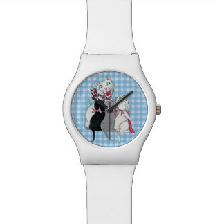 Vintage Mother Cat Three Kittens Pink Bows Watch