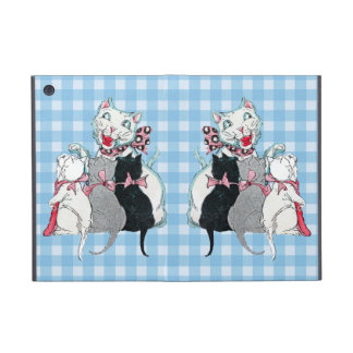 Vintage Mother Cat Three Kittens With Bows Cases For iPad Mini