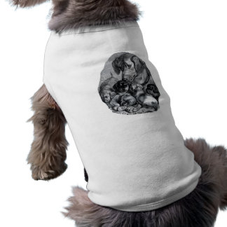 Vintage mother dog and her puppies drawing tee