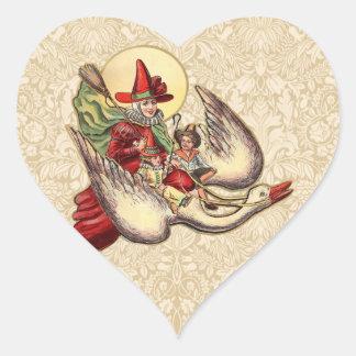 Vintage Mother Goose Antique Illustration Heart Sticker